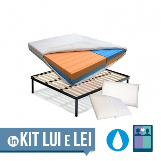 KIT PLUS DUO - Materasso multionda water foam a doppia densità per Lui & Lei con rete a doghe + cuscini