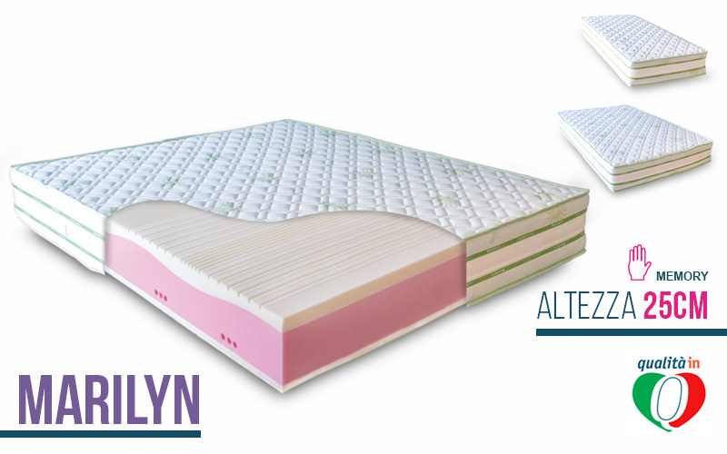 Materasso lattice e memory foam marilyn for Materasso poliuretano
